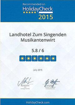 Holidaycheck Auszeichnung 2015 Singender Musikantenwirt